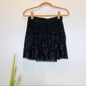 J Crew Mini Black Cocktail Sequin Skirt